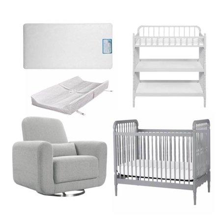 5 Piece Nursery Furniture Set In Gray White