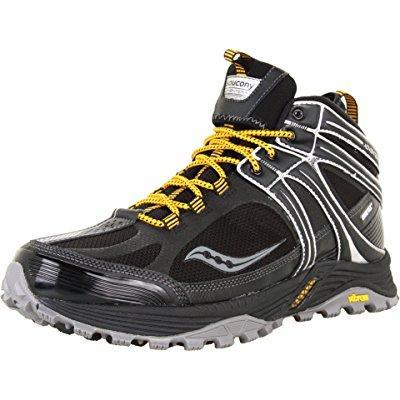 Saucony men's progrid adventerra gtx hiking boot,black/ye...