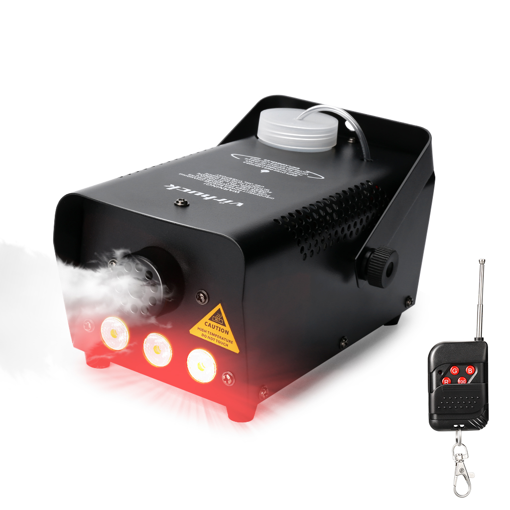 VIRHUCK 500-Watt Portable Party Fog Machine, Wireless Remote Control Fog Machine with Colorful LED Light for Holidays, Weddings
