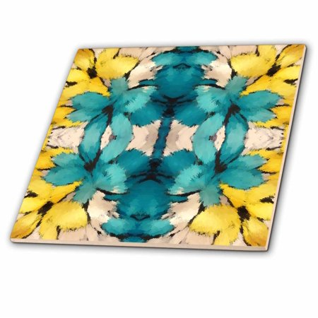 3dRose Turquoise and Yellow Abstract - Ceramic Tile, 4-inch