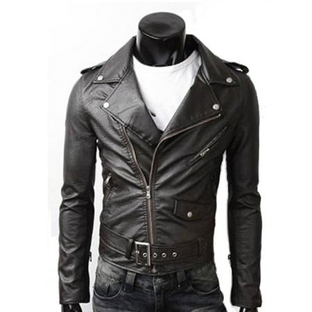 Men's PU Leather Biker Jacket - Mens Biker Jacket