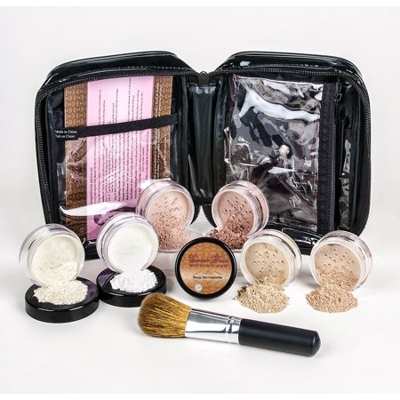 XXL KIT with BRUSH & CASE Full Size Mineral Makeup Set Bare Skin Powder Foundation Cover