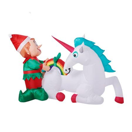 Christmas Elf.Holiday Time Elf With Unicorn Inflatable 7