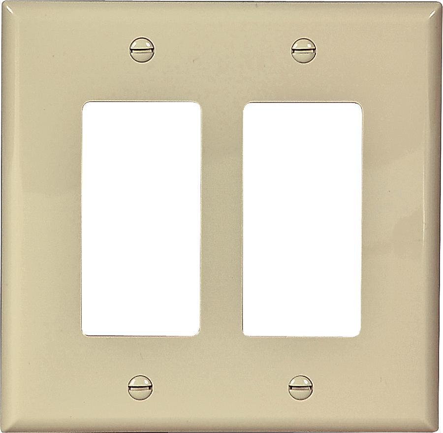 Arrow Hart PJ262 Decorative Mid Size Unbreakable Wall Plate 2 Gang 4-1/2 in L x 4.56 in W Ivory