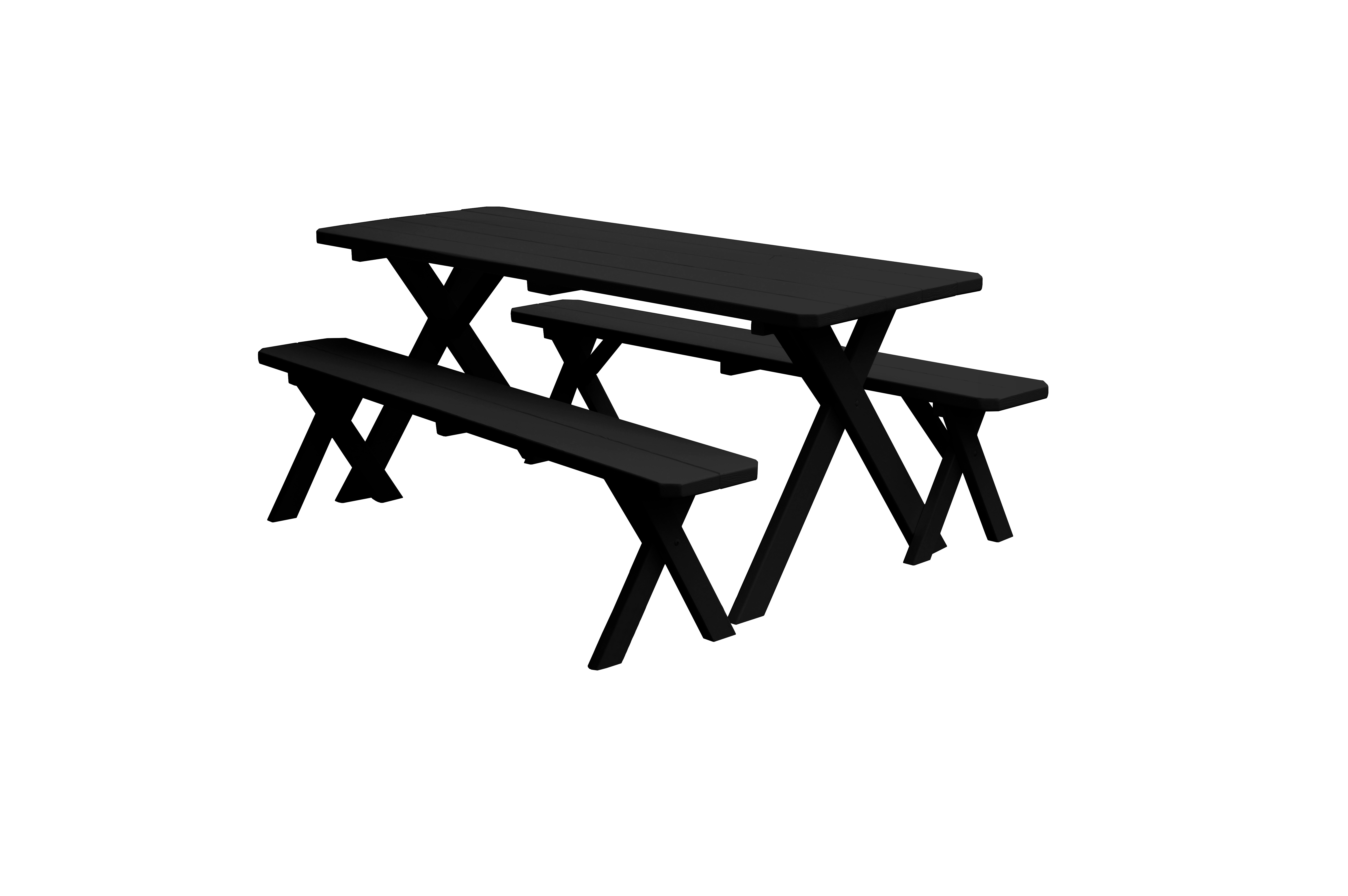 8 foot Cross-leg Wooden Picnic Table with 2 Wooden Benches by