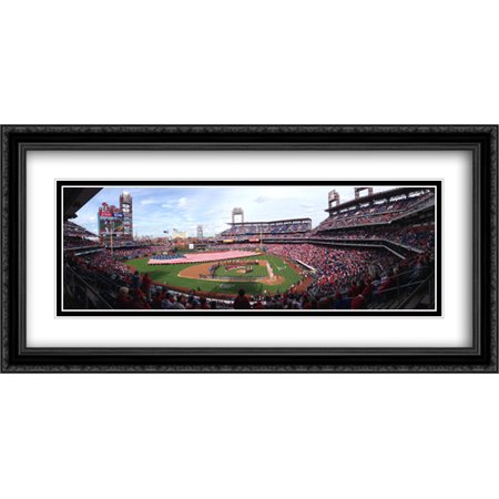 Citizens Bank Park 2X Matted 40X20 Large Black Ornate Framed Art Print From The Stadium Series