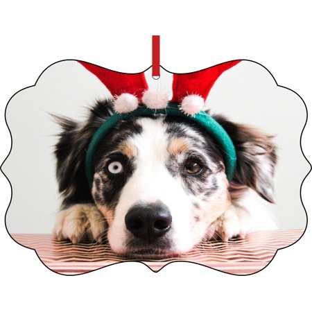 Ornament Dog Ornaments Funny Dog in Reindeer Ears Elegant Semigloss Aluminum Christmas Ornament Tree Decoration - Unique Modern Novelty Tree Décor Favors - Funny Reindeer Names
