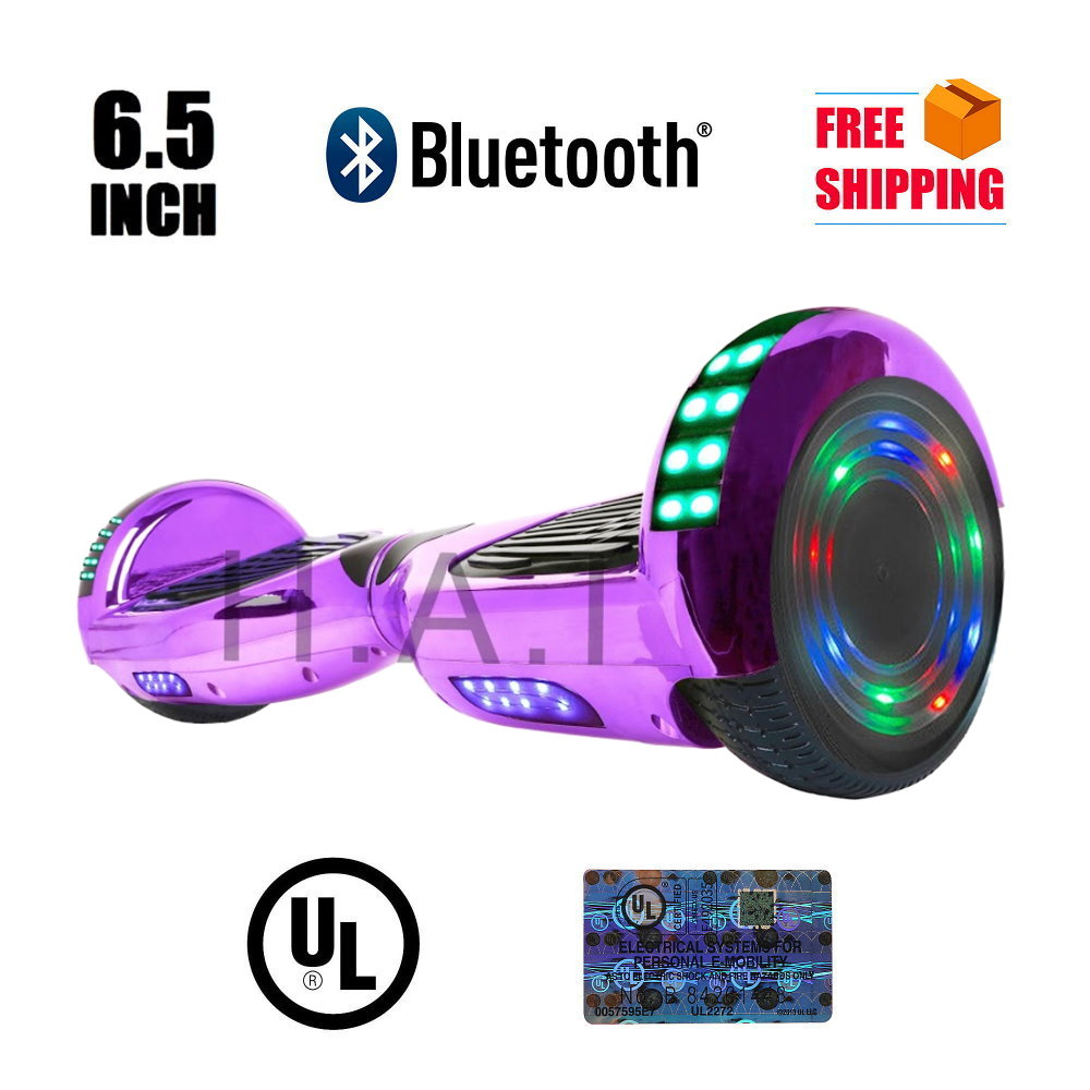 "Hoverboard 6.5"" LED Bluetooth Speaker Self Balancing Wheel Electric Scooter- Chrome Purple"