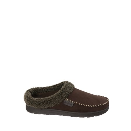 Dearfoams Men's Wide Width Microsuede Moc Toe Clog with Berber Cuff Slippers - Funny Slippers For Men