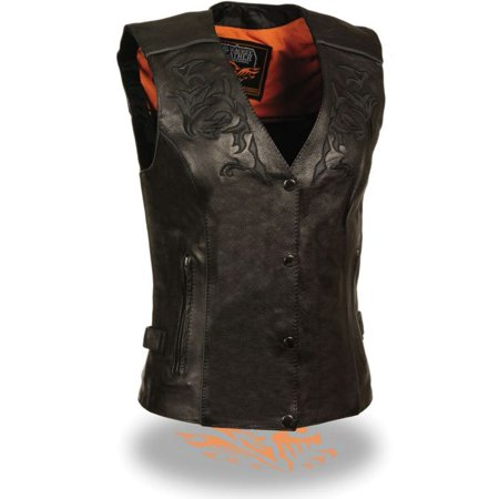 Milwaukee Leather Womens Vest w/Reflective Tribal Design & Piping Black (Womens Leather Vest Black)