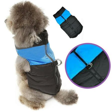 CBD Cold Weather Dog Clothes Waterproof Warm Vest Jacket Pet Winter Coat Blue Small size