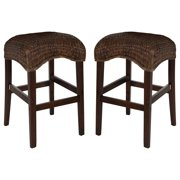 A Line Furniture Montgomery Rattan Woven Counter height Backless Stools (Set of 2)