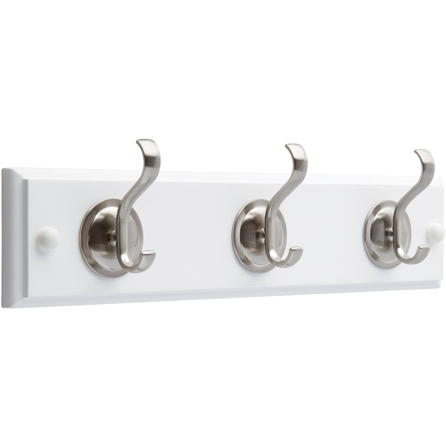 """Brainerd 14"""" Rail with 3 Coat and Hat Hooks with Round Base, Flat White and Satin Nickel"""
