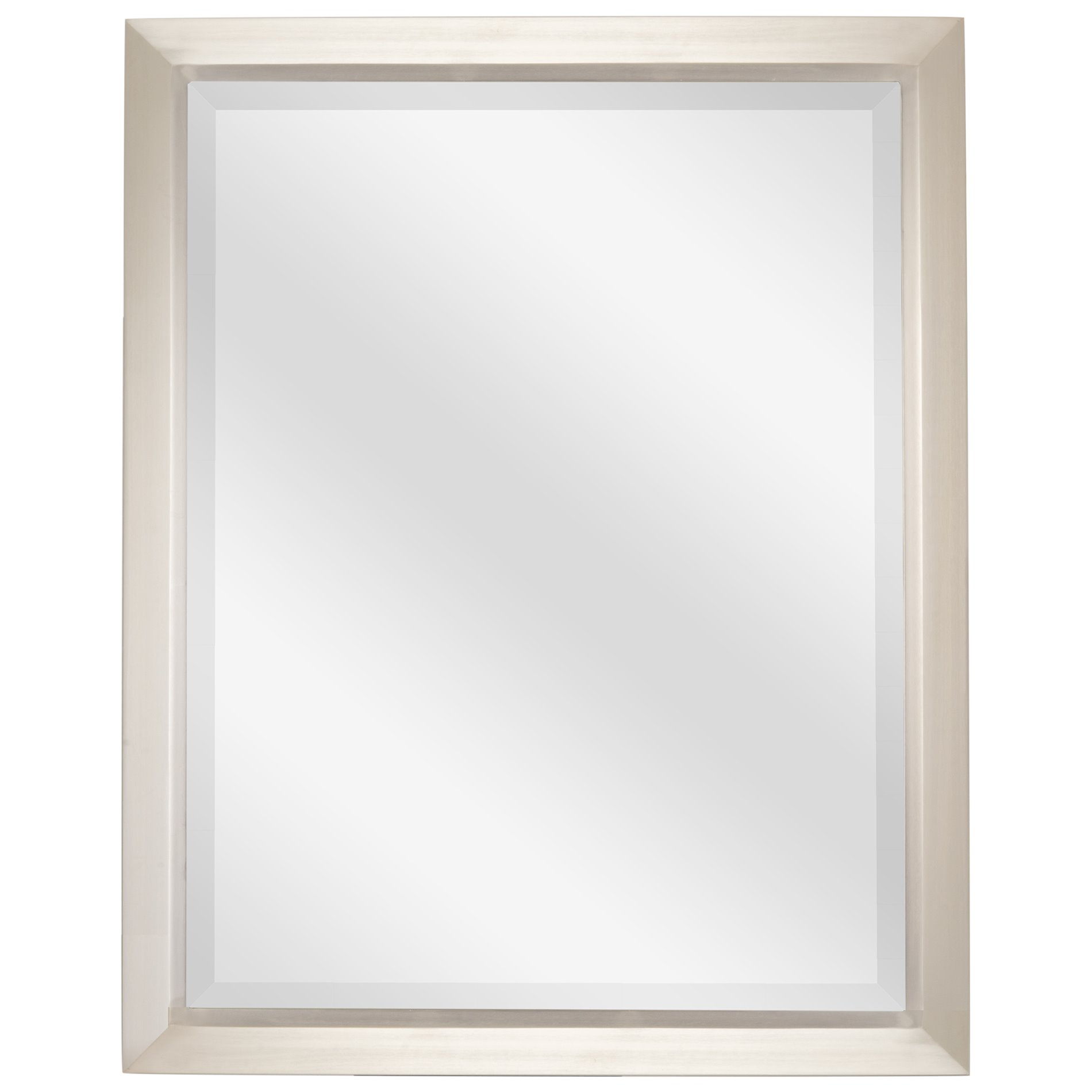 "Revel Madison 30""x 24"" Large Modern Rectangle Decorative beveled mirror + Brushed Nickel Finish"