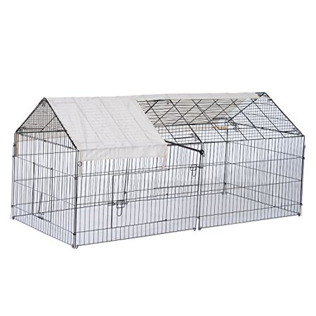 "88"" Metal Outdoor Small Animal Enclosure with Protective Cover - Black/White"