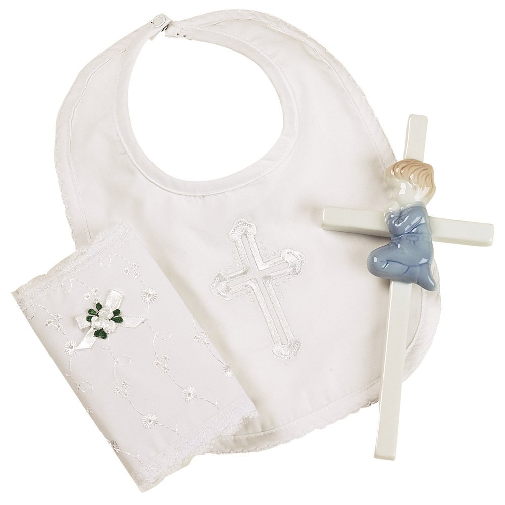 Elegant Baby Boy's Christening Gift Set Includes 100% Cotton Bib, Wall Hanging Porcelain Cross & Bible. Gift... by Elegant Baby