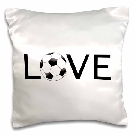 - 3dRose Love text with black and white soccer ball for O Sport football player - Pillow Case, 16 by 16-inch