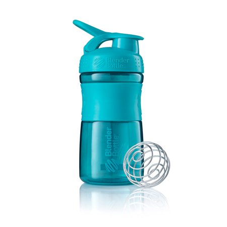 BlenderBottle 20oz SportMixer Tritan Grip Shaker Bottle with Wire Whisk BlenderBall and Carrying Loop, Teal (Sport Mixer)
