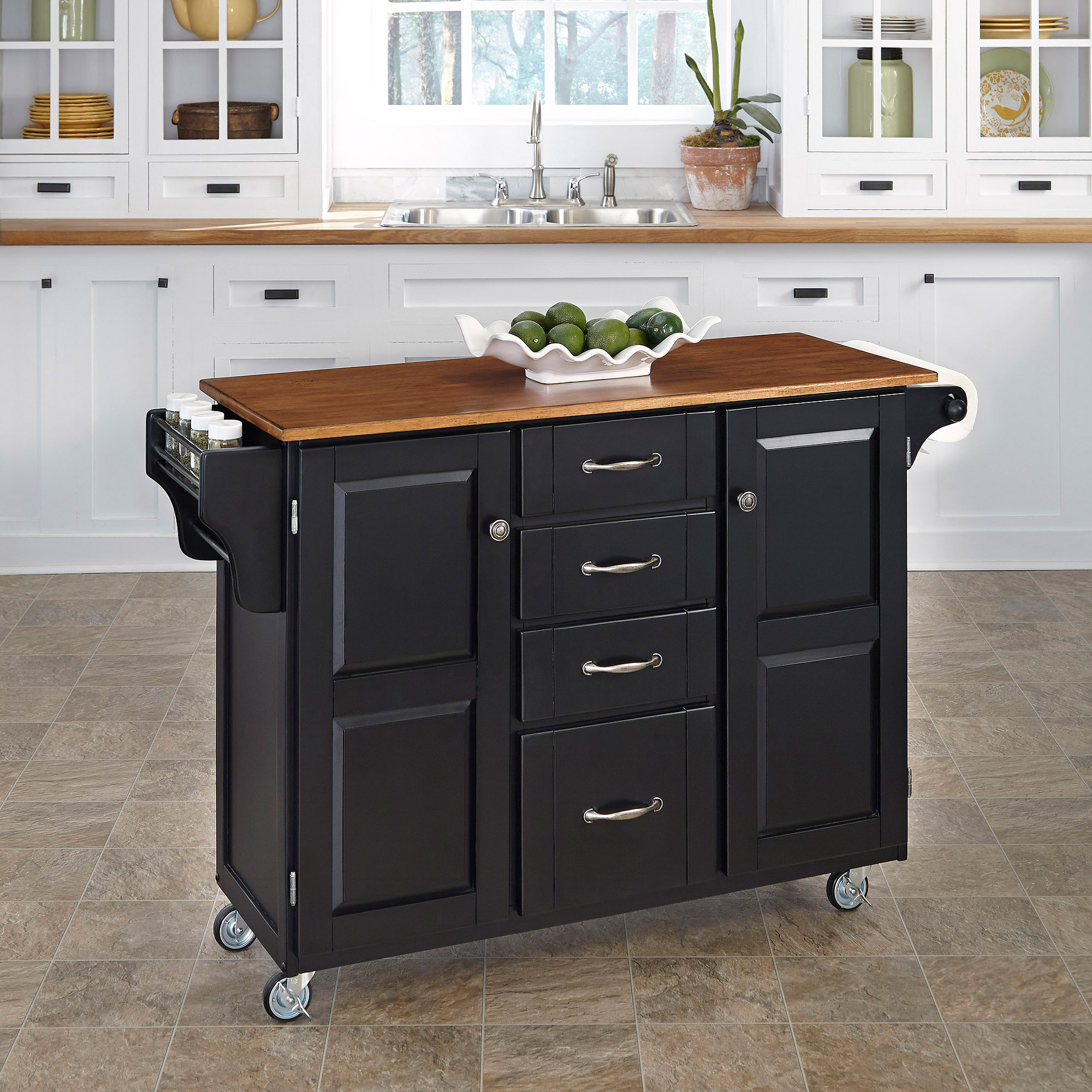 Home Styles Create-a-Cart, Black with Oak Top
