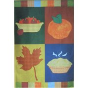 "Fall Apples Collage House Flag Pie Pumpkin Leaves Autumn Decorative 28"" x 40"""