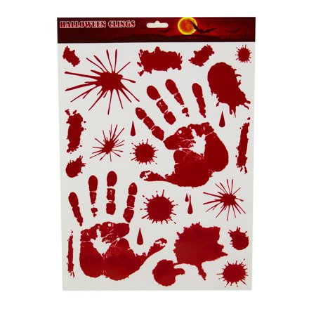 Club Pack of 264 White and Red Bloody Hand Print Halloween Window Clings - Halloween Silhouette Window Clings