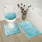Aqua 3 Piece Rock Memory Foam Bathroom Mat Set Flannel Embossed Rug 19