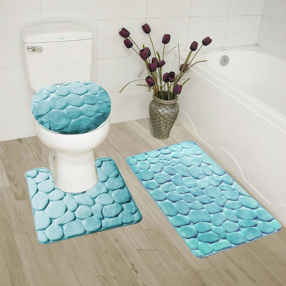 """AQUA 3-Piece Rock Memory Foam Bathroom Mat Set, Flannel Embossed Rug 19""""x 30"""", Contour Mat 19""""x19"""", and Toilet Lid Cover 19""""x19"""" with Non-Skid Rubber Back"""
