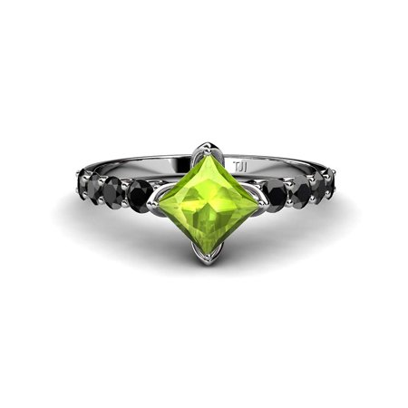Peridot Princess Cut and Side Black Diamond Engagement Ring 1.53 cttw in 14K White Gold.size 4.5