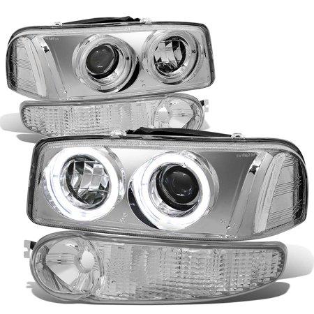 For 2001 to 2007 GMC Sierra / Yukon Denali LED Halo Ring Projectoer Headlight+Bumper Lamp Chrome Housing Clear Corner 03 04 05 06
