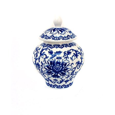 Ancient Blue and White Porcelain Tea Storage Helmet-shaped Temple Jar ( large size)