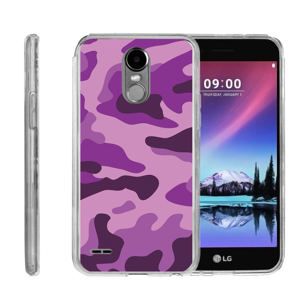 Clear Case for LG Stylus 3 | LG Stylus 3 Transparent Case [ Flex Force ] Clear Lightweight Flexible Phone Case - Purple Camouflage
