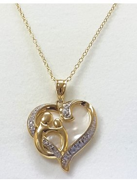 4780b8f82 Product Image Gorgeous 0.03 Cttw Mother & Child White Crystal Heart Pendant  Necklace In 18K Gold Plated