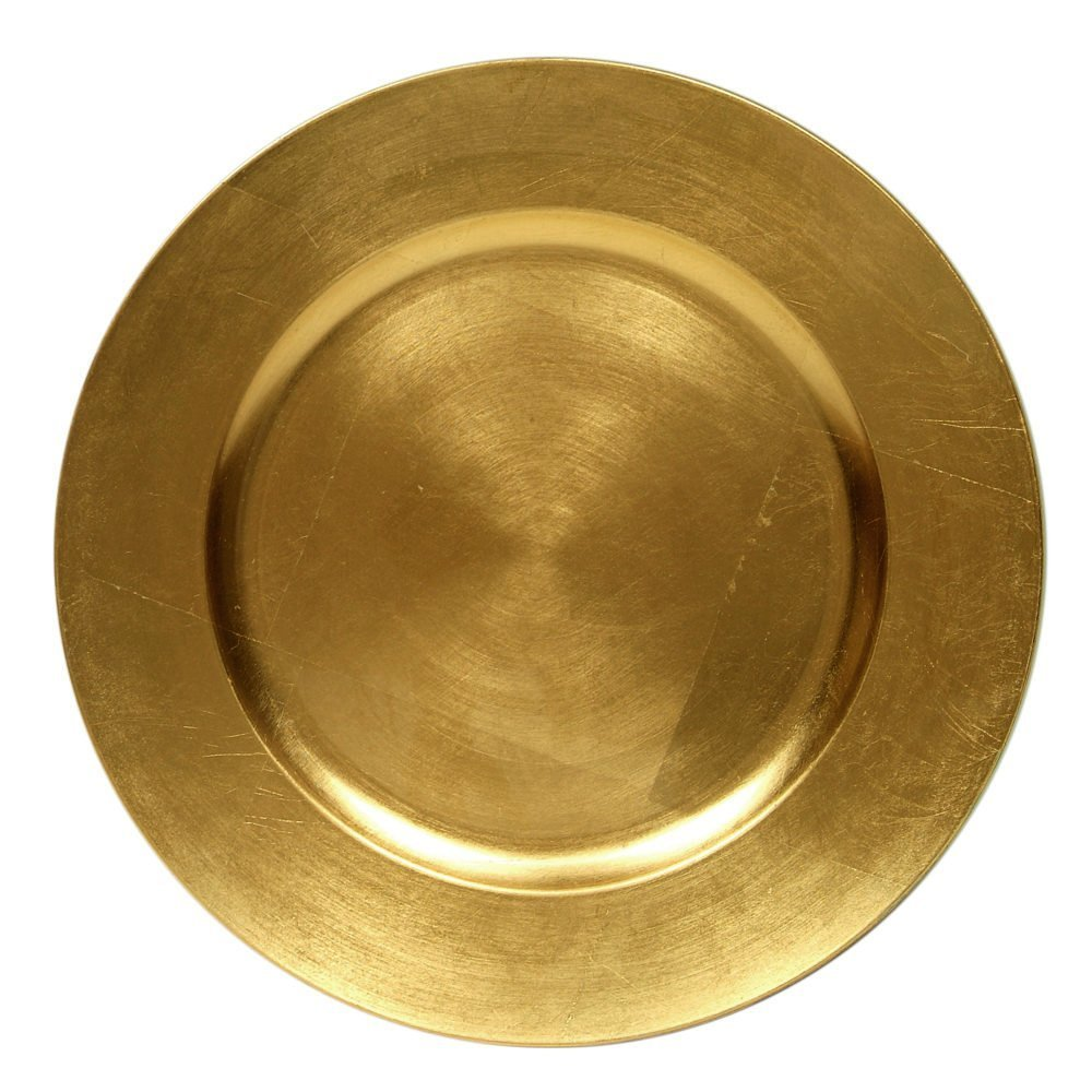 Round Charger Dinner Plates, Gold 13 inch, Set of 1,2,4,6, or 12 (6)