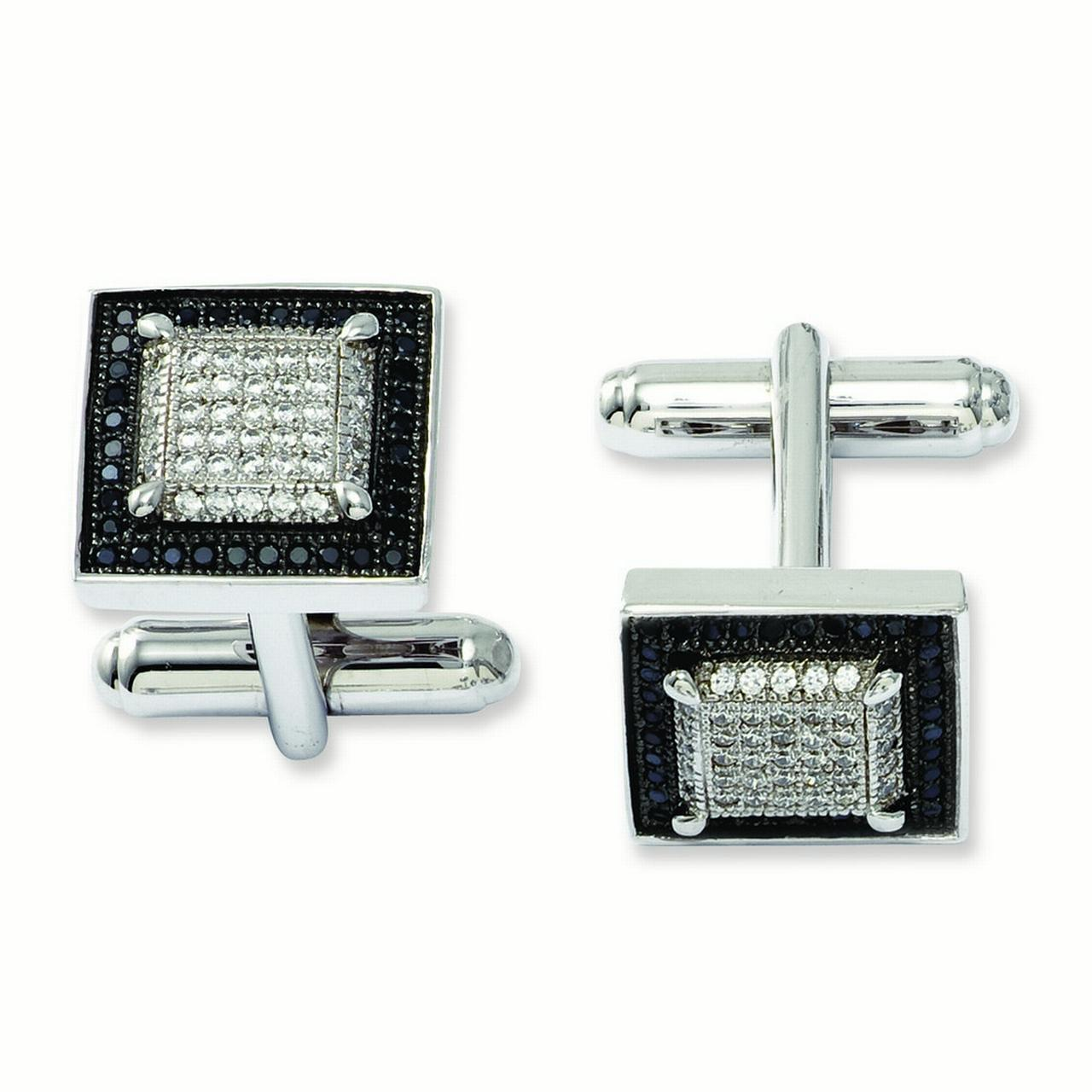 Sterling Silver and Cubic Zirconia Brilliant Embers Cuff Links