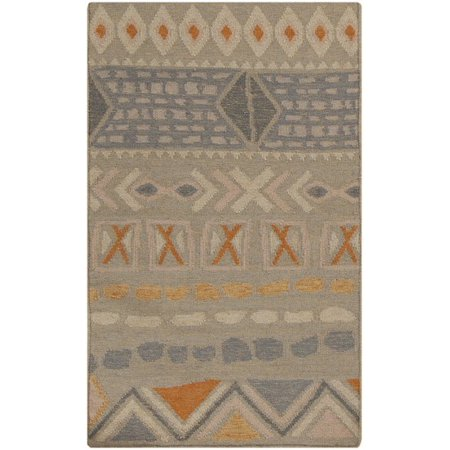 Apricot Wool - 2.5' x 8' Ancestral Origins Khaki and Apricot Hand Woven Wool Area Rug Runner