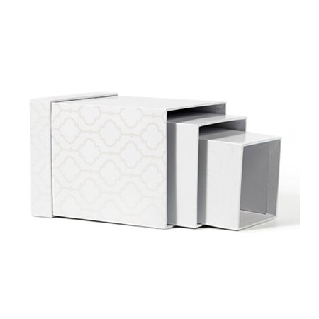 American Crafts DCWV Square Nested Storage Box Set - Various Sizes, White Foil-Themed Print - 3-Piece Set (America Size)