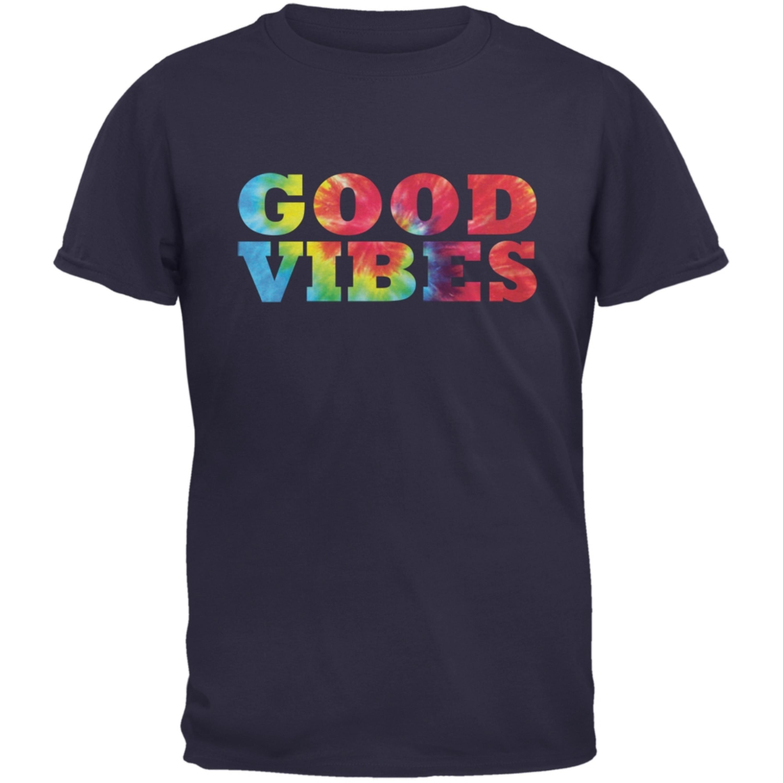Tie Dye Good Vibes Navy Adult T-Shirt