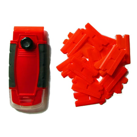 - 100 Plastic Double Edged Razor Blades and Long Handled Red Mini Scraper