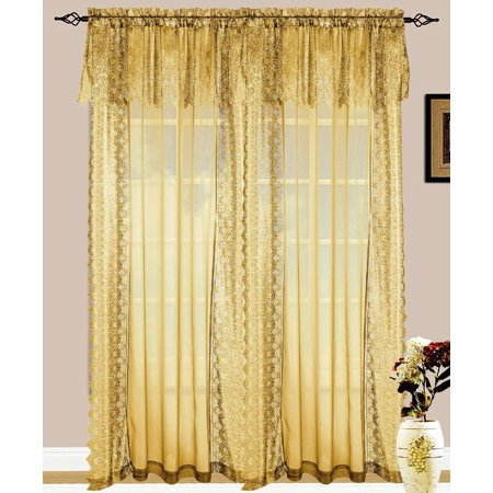 Set of 2 Jessie Lace and Sheer Curtain Drapery Panel with Attached Valance, 84