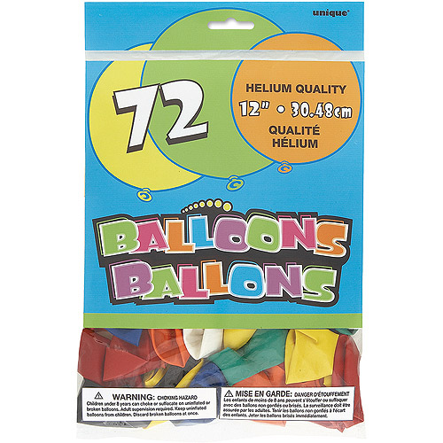 12'' Assorted Color Latex Balloons, 72ct