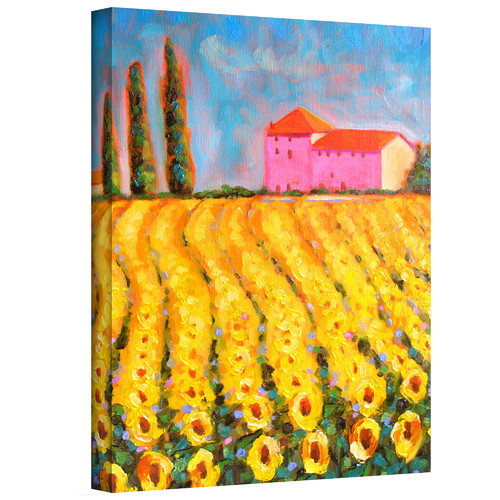 ArtWall 'Cyress and Sunflowers at Vall De Lot' by Susi Franco Painting Print on Canvas