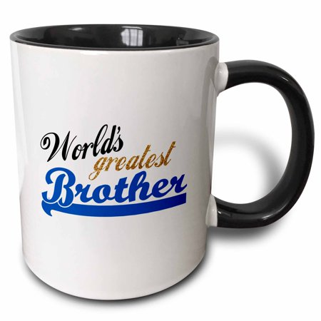 3dRose Worlds Greatest Brother - Best Bro - For little or big brothers - family relations relationship gift, Two Tone Black Mug,