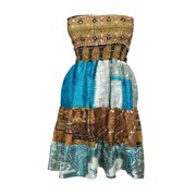 Mogul Womens Freeing Feeling 2 In 1 Printed Skirt Dress Vintage Recycled Silk Strapless Beach Wear Summer Style Sari Dresses XS