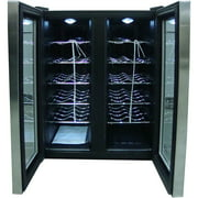 Sunpentown 24-Bottle Double-Door Dual-Zone Thermo-Electric Wine Cooler with Heating, Stainless Steel