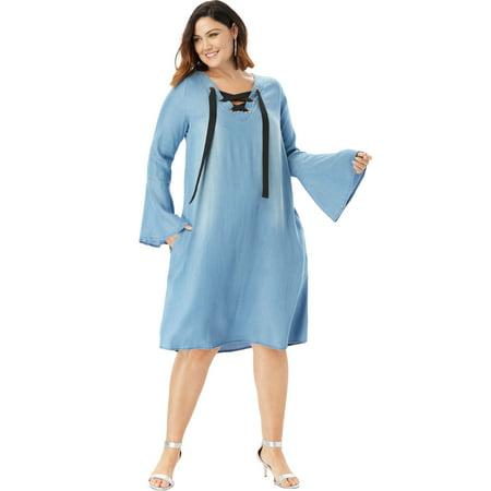 - Roaman's Plus Size Denim Trapeze Dress With Lace-up Neck