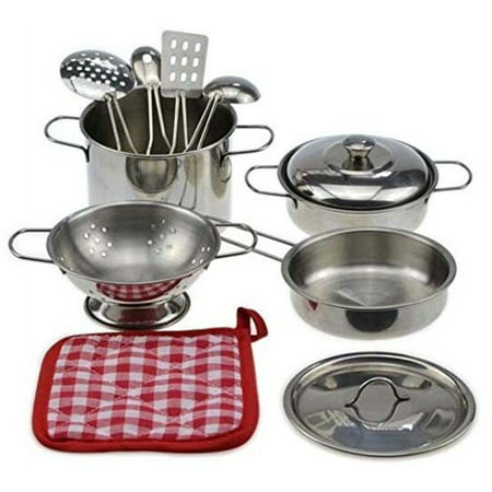 10-piece Playset Metal Pots and Pans Kitchen Cookware for Kids with Cooking Utensils