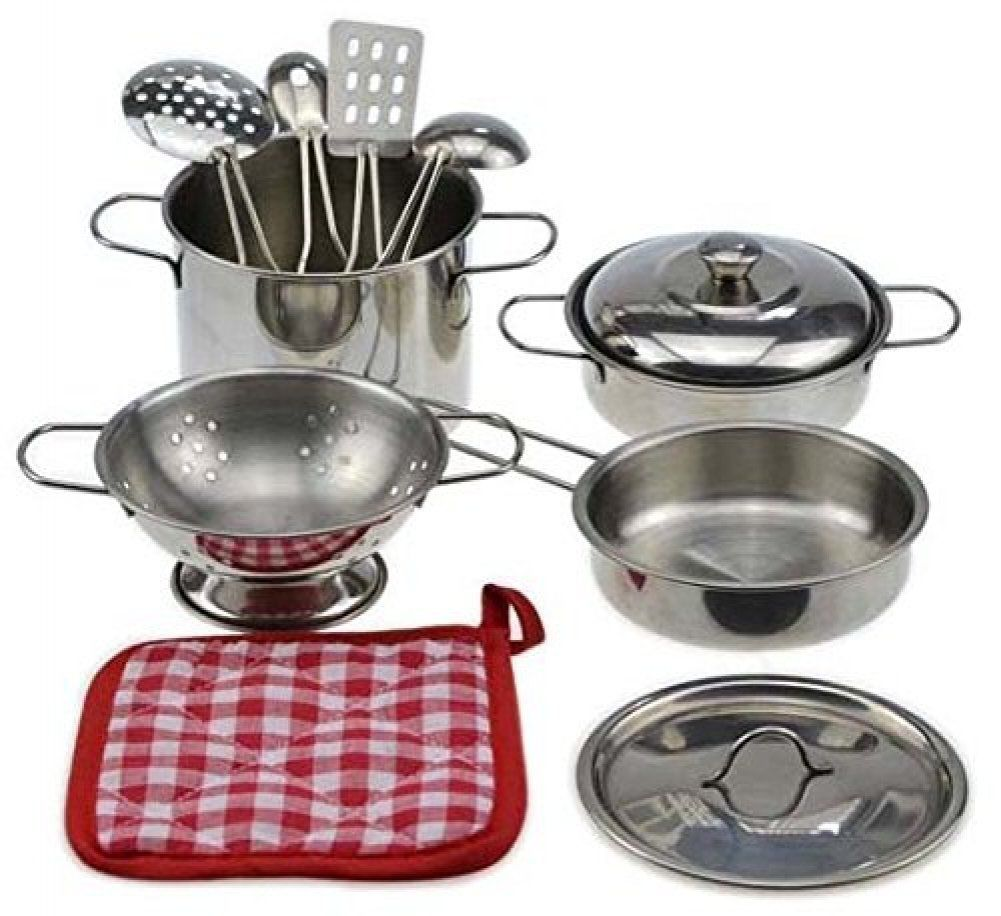 Toy 10-piece Playset Metal Pots and Pans Kitchen Cookware for Kids with Cooking Utensils Set
