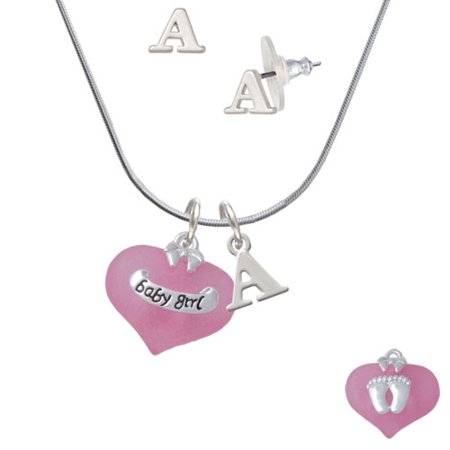 Initial Set (Baby Girl Pink Heart with Baby Feet - A Initial Charm Necklace and Stud Earrings Jewelry)