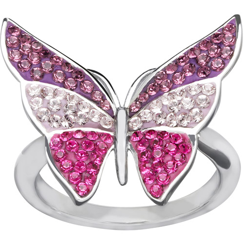Luminesse Swarovski Element Sterling Silver Butterfly Ring, Size 7