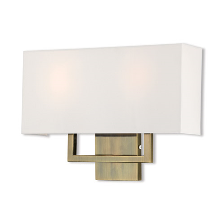 World of Crystal Melbourne Wall Sconces 16in Antique Brass Steel 2-light